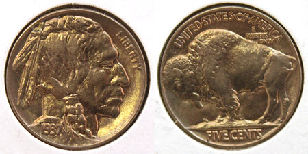 Buffalo Five Cent Coin 1937 Philadelphia