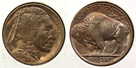 Buffalo Five Cent Coin 1938-D Denver