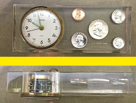 Vintage Elgin Alarm Clock Acrylic with 1963 proof set coins