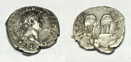 Ancient Denarius Trajan coin obverse and reverse views