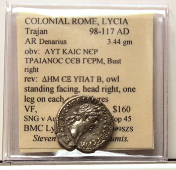Ancient Denarius Trajan coin