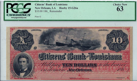 "1860s Citizens Bank of Louisiana ""Dix"" Note obverse"