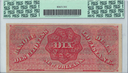 "1860s Citizens Bank of Louisiana ""Dix"" Note reverse"