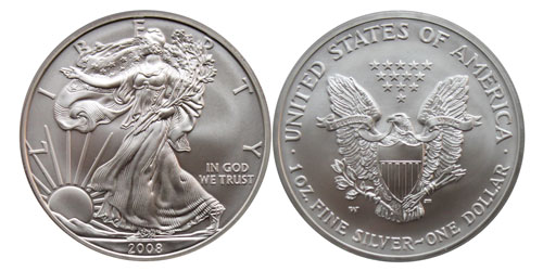 2008W Burnished American Silver Eagle Reverse of 2007