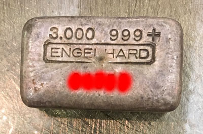 Engelhard 3-ounce silver bar