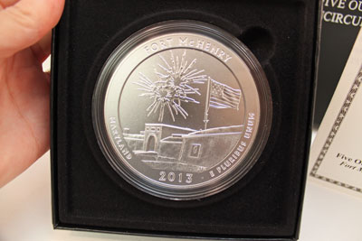 2013 America the Beautiful Five-Ounce Silver Bullion Fort McHenry National Monument and Historic Shrine