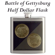 Battle of Gettysburg Half Dollar Flask on the Greater Atlanta Coin Show's Numismatic Shoppe