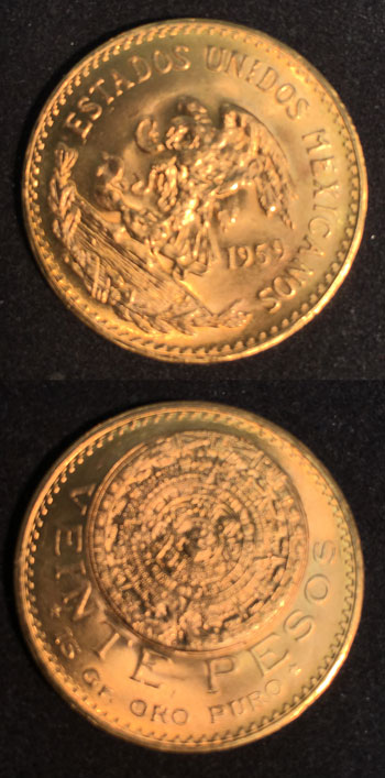 Gold 20 Pesos coin 1959 obverse and reverse views