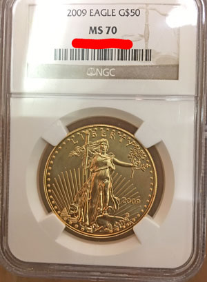 2009 Gold American Eagle $50 NGC MS-70