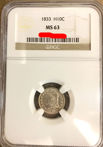 1833 Half Dime Coin NGC MS-63