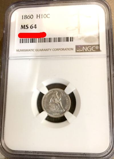 1860 Half Dime Coin NGC MS-64