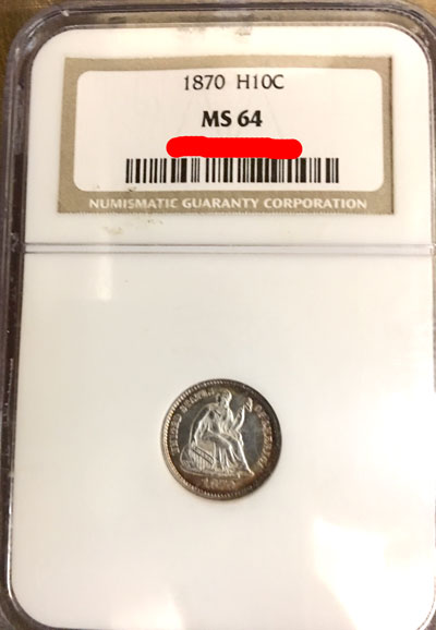 1870 Half Dime Coin NGC MS-64