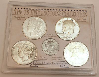 Five Historic Dollar Coins obverse