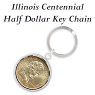 Illinois Centennial Half Dollar Keychain on the Greater Atlanta Coin Show's Numismatic Shoppe