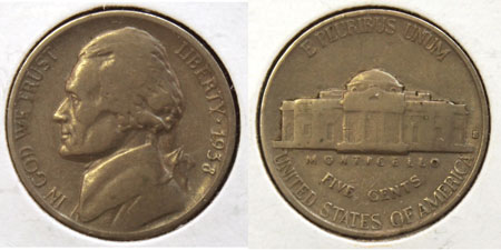 Jefferson Five Cent Coin 1938-S San Francisco