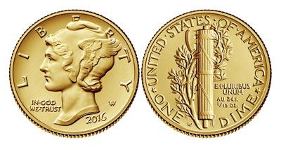 2016 100th anniversary gold mercury dime obverse and reverse