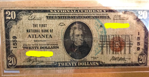 National Currency Note The First National Bank of Atlanta $20 Brown Seal 1929 Series