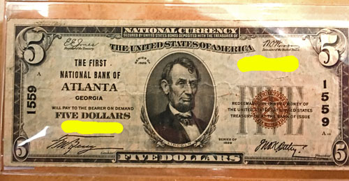 National Currency Note The First National Bank of Atlanta $5 Brown Seal 1929 Series