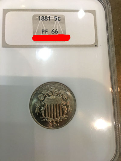 1881 Five Cent Proof 66 Shield Nickel Coin