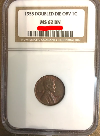 1955 Doubled-Die Obverse Lincoln Cent NGC MS-62 BN