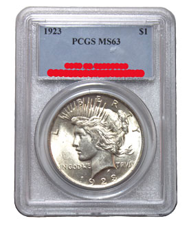 Peace dollar in PCGS holder - obverse view
