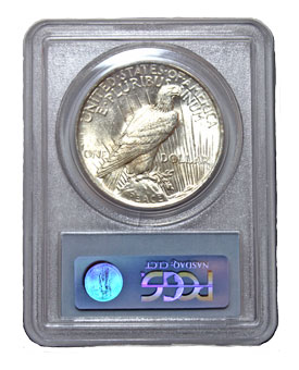 Peace dollar in PCGS holder - reverse view
