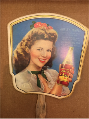 RC Cola advertizing fan with Shirley Temple front