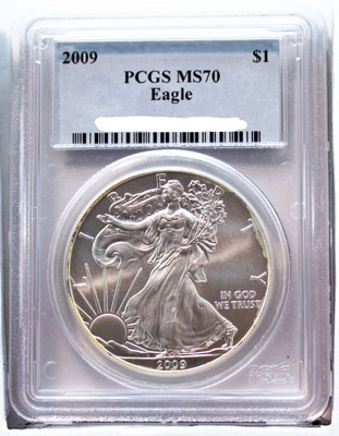 2009 American Silver Eagle dollar coin graded PCGS MS-70