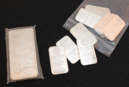 Silver bullion 10 ounce and 1 ounce bars