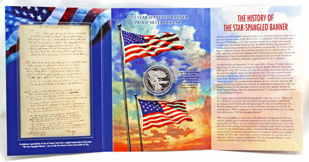 Star Spangled Banner Commemorative Silver Dollar Coin set with Francis Scott Key's poem