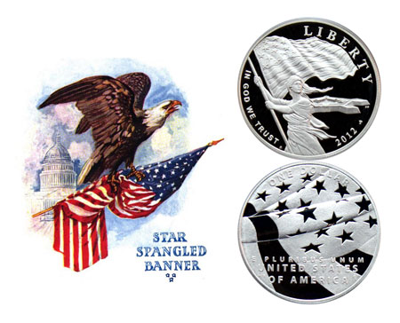 Star Spangled Banner Commemorative Silver Dollar Coin with eagle grasping flag in front of the capitol dome