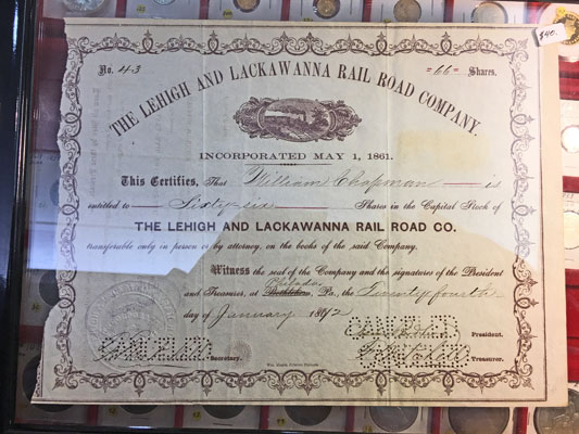 The Lehigh and Lackawanna Rail Road Company Stock Certificate