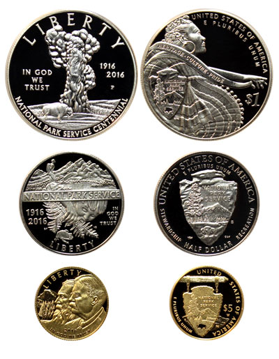 National Park Service commemorative silver dollar, clad half dollar, gold five-dollar obverse and reverse