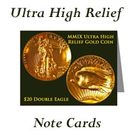Ultra High Relief Gold Coin Note Cards on Greater Atlanta Coin Show's Numismatic Shoppe