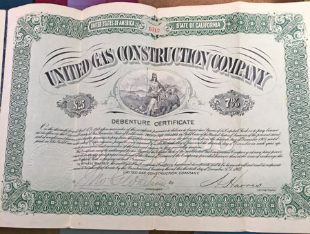 United Gas Construction Company Debenture Certificate $25